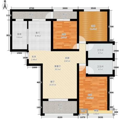 桃园丽�城3室1厅2卫1厨137.00㎡户型图