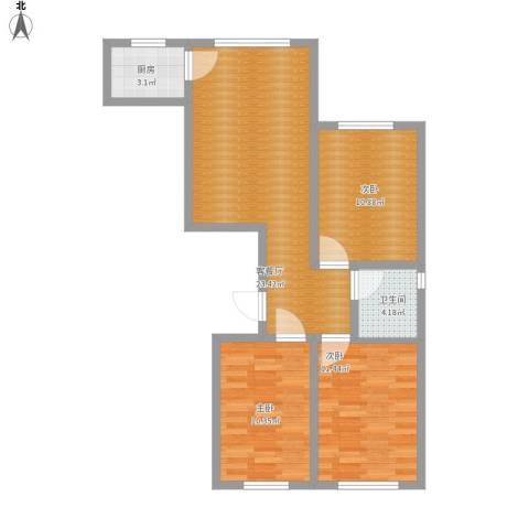 世纪嘉园3室1厅1卫1厨90.00㎡户型图