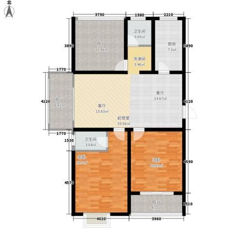 华夏太阳城二期2室0厅2卫1厨120.00㎡户型图