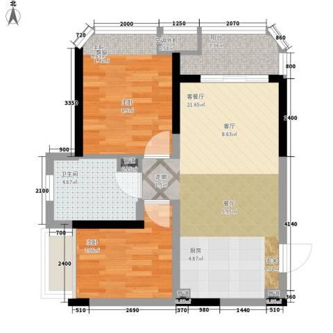 三亚・一山湖2室1厅1卫0厨69.00㎡户型图
