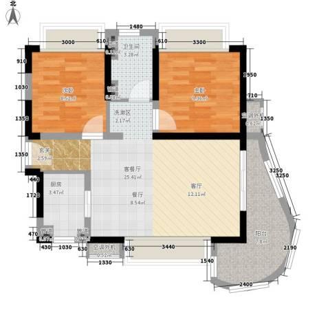 三亚・一山湖2室1厅1卫1厨87.00㎡户型图