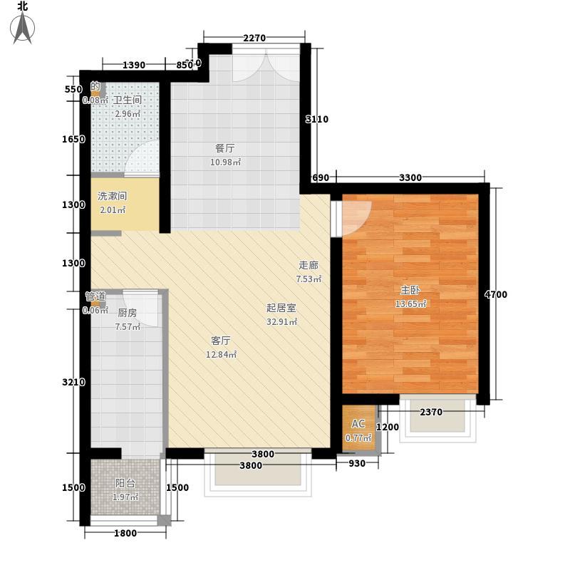 润枫锦尚-E4户型1室2厅1卫1厨