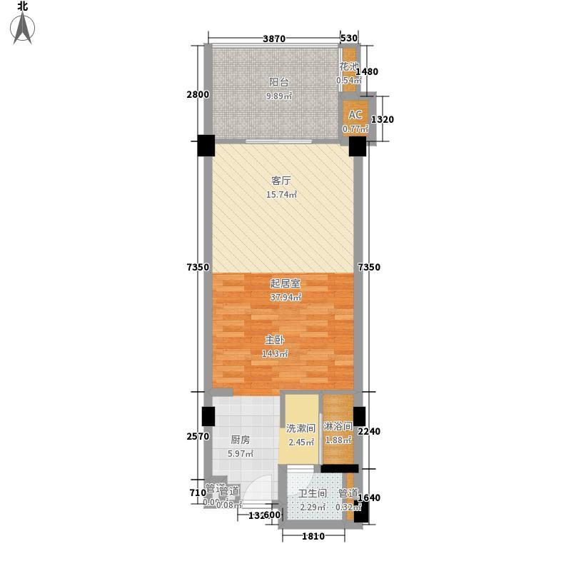 碧桂园金沙滩5.00㎡望海公寓J623-B户型1室1厅1卫1厨