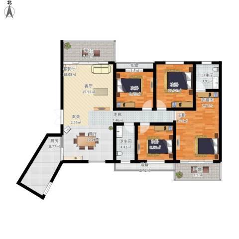 长房天翼未来城4室1厅2卫1厨135.65㎡户型图