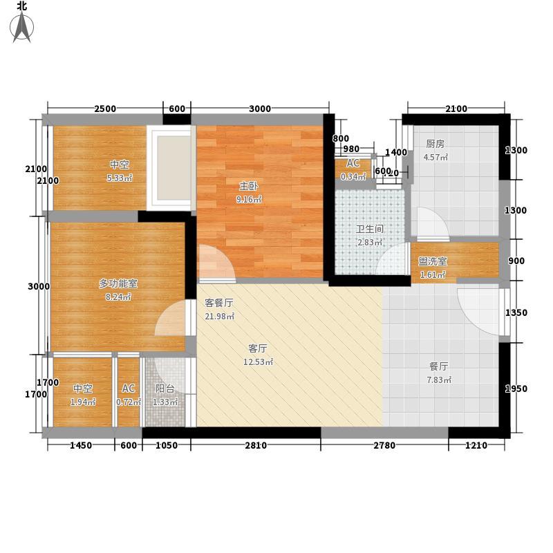 锦江城市花园(锦江)55.77㎡三期7号楼K户型1室2厅1卫1厨