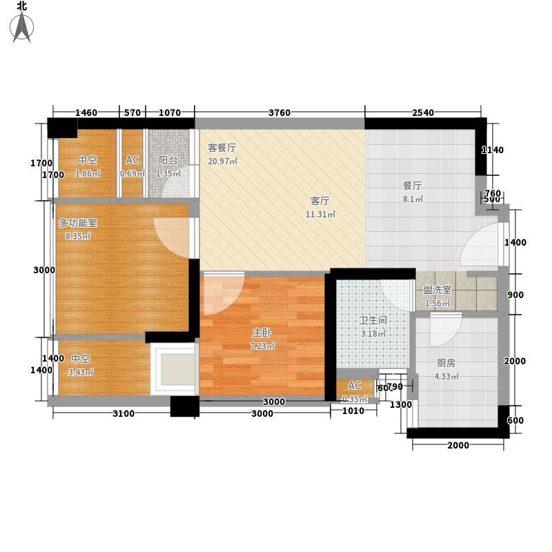 锦江城市花园(锦江)54.55㎡三期7号楼L户型1室2厅1卫1厨