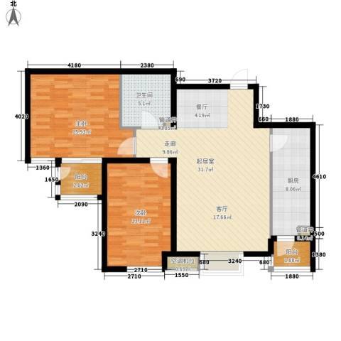 明湖・白鹭郡2室0厅1卫1厨90.00㎡户型图