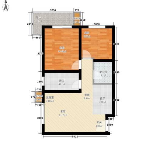 皇族名居2期2室0厅1卫1厨77.00㎡户型图