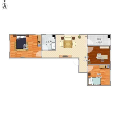 世纪嘉园3室1厅1卫1厨85.00㎡户型图