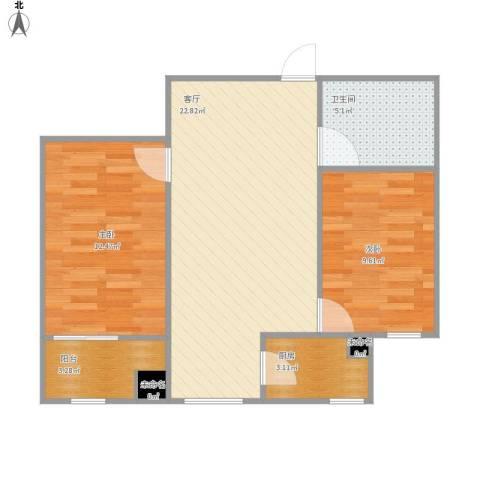 化纤东区2室1厅1卫1厨77.00㎡户型图
