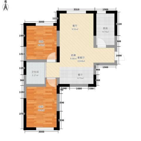 中顺福苑2室1厅1卫1厨73.00㎡户型图