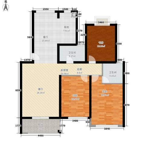 鸿山锦苑3室0厅2卫0厨134.00㎡户型图