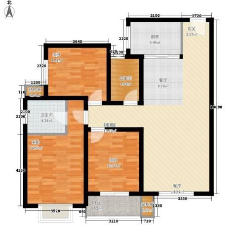 皇族名居2期3室0厅2卫1厨124.00㎡户型图