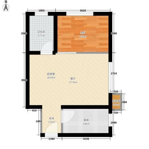 皇族名居2期1室0厅1卫1厨57.00㎡户型图