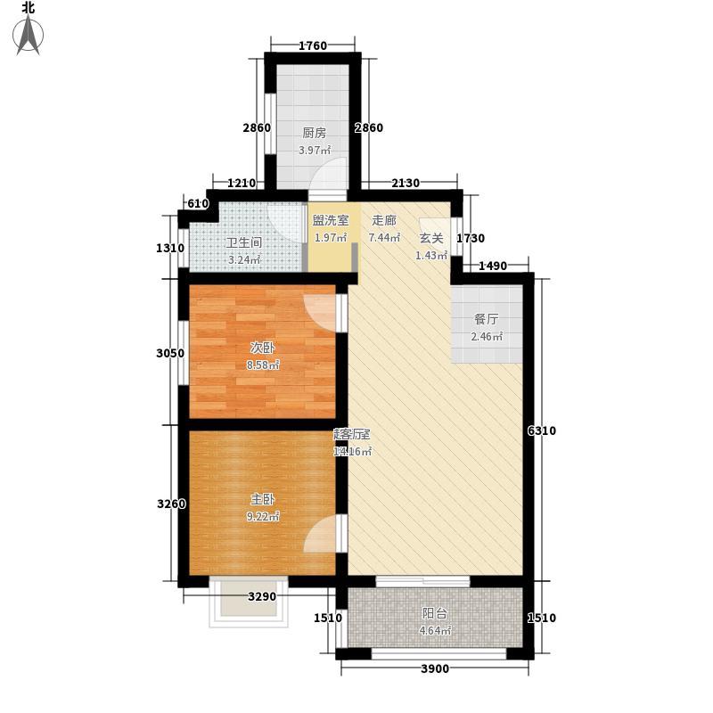 易合坊85.00㎡易合坊户型图B户型2室2厅1卫1厨户型2室2厅1卫1厨