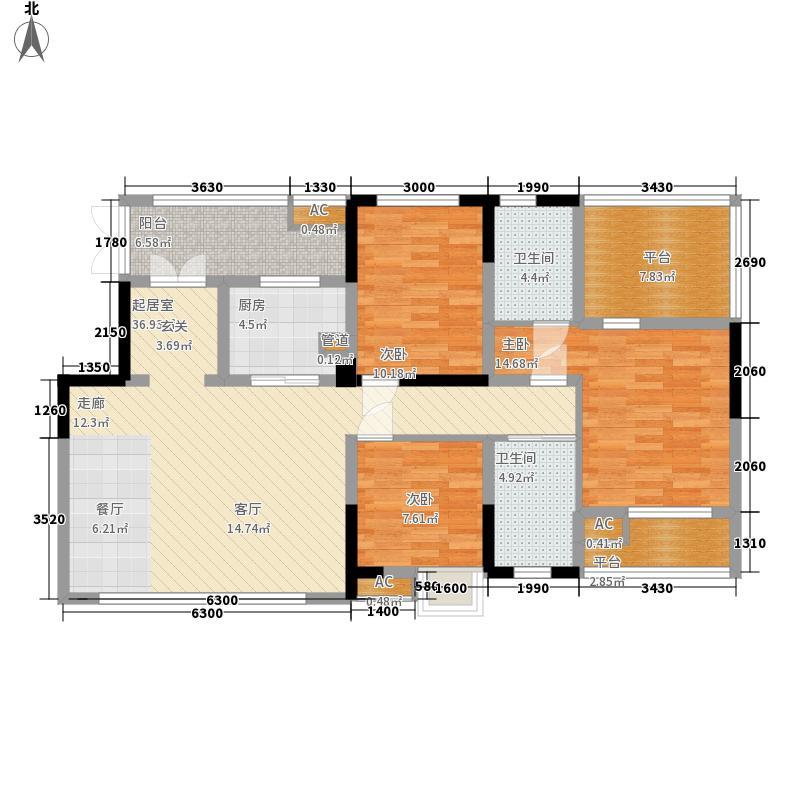 中国西部文化城常青藤社区111.60㎡一期花园洋房标准层M户型3室2厅2卫1厨