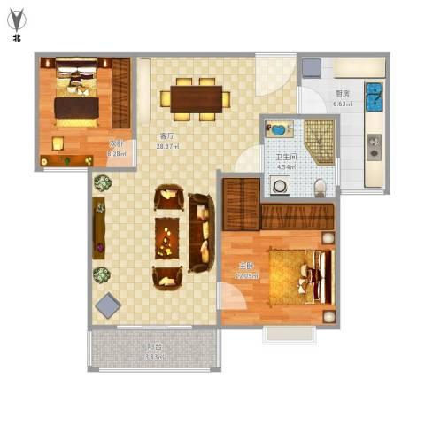 金桥普林斯顿2室1厅1卫1厨86.00㎡户型图