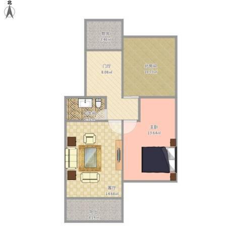 金龙花苑牡丹园1室1厅1卫1厨78.00㎡户型图