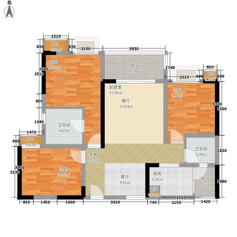 上品十六凌峰85.58㎡四期16号楼标准层E4户型