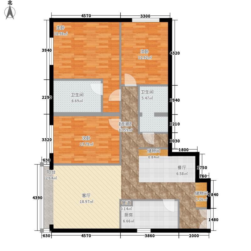 锋尚国际公寓124.95㎡面积12495m户型