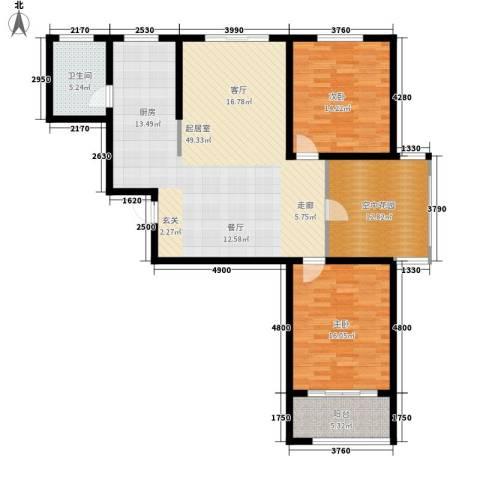 华夏太阳城二期2室0厅1卫0厨115.00㎡户型图