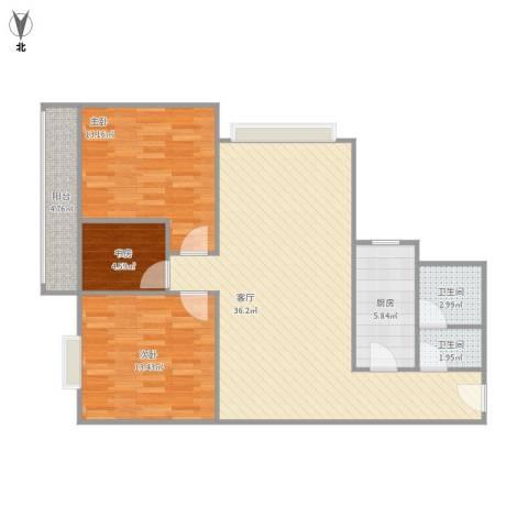 安诚御花苑3室1厅2卫1厨112.00㎡户型图