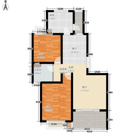 大华阳城五期阳城书院2室0厅1卫1厨98.55㎡户型图