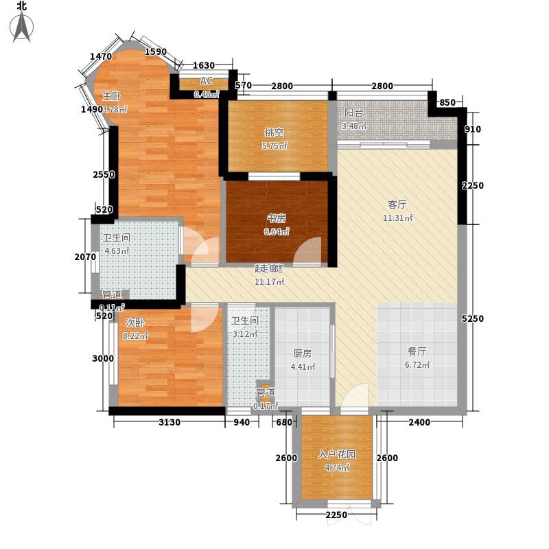 广园东东方名都102.00㎡二期13座03/04单元3室户型