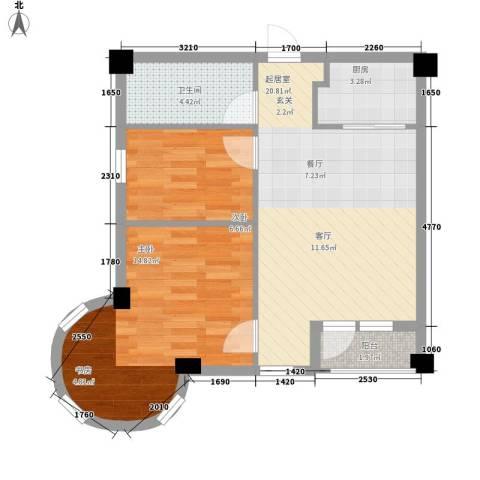 悦泰街里项目2室0厅1卫1厨59.00㎡户型图