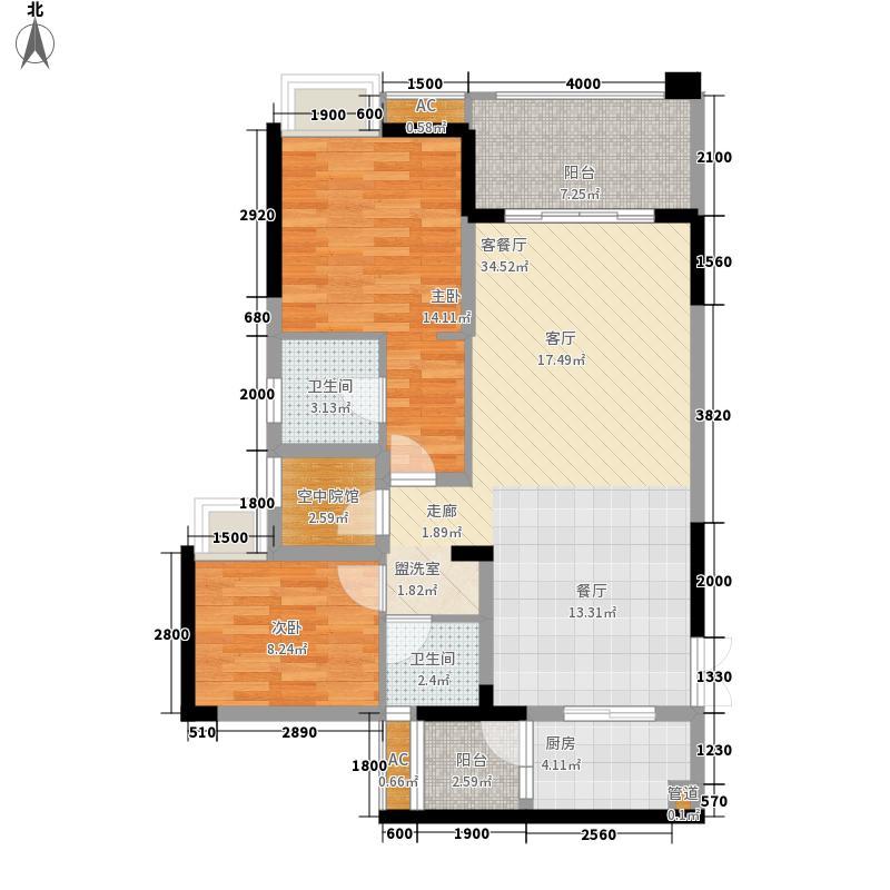 国际社区84.00㎡江御一期4号楼标准层d户型