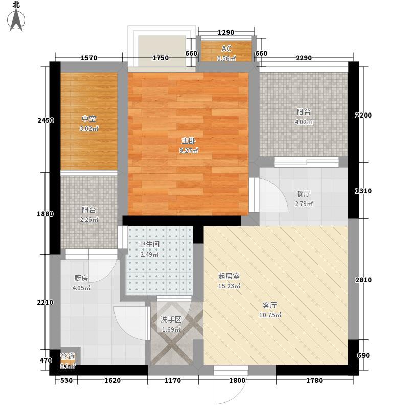 南城锦尚一期3号楼标准层A户型1室1厅1卫1厨