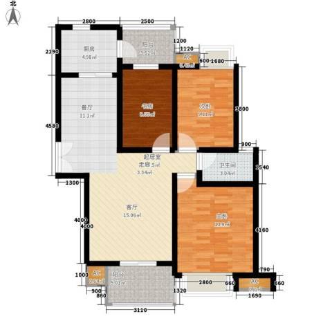 绿香村3室0厅1卫1厨92.09㎡户型图