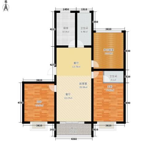 华夏太阳城二期2室0厅2卫1厨123.00㎡户型图