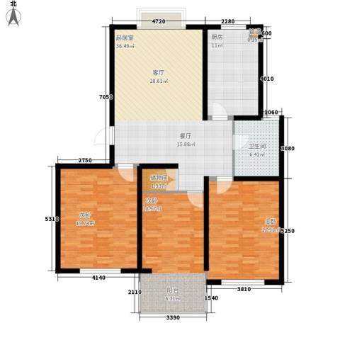 鸿山锦苑3室0厅1卫1厨123.00㎡户型图