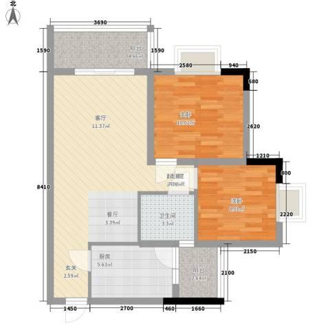华懋上域2室0厅1卫1厨85.00㎡户型图