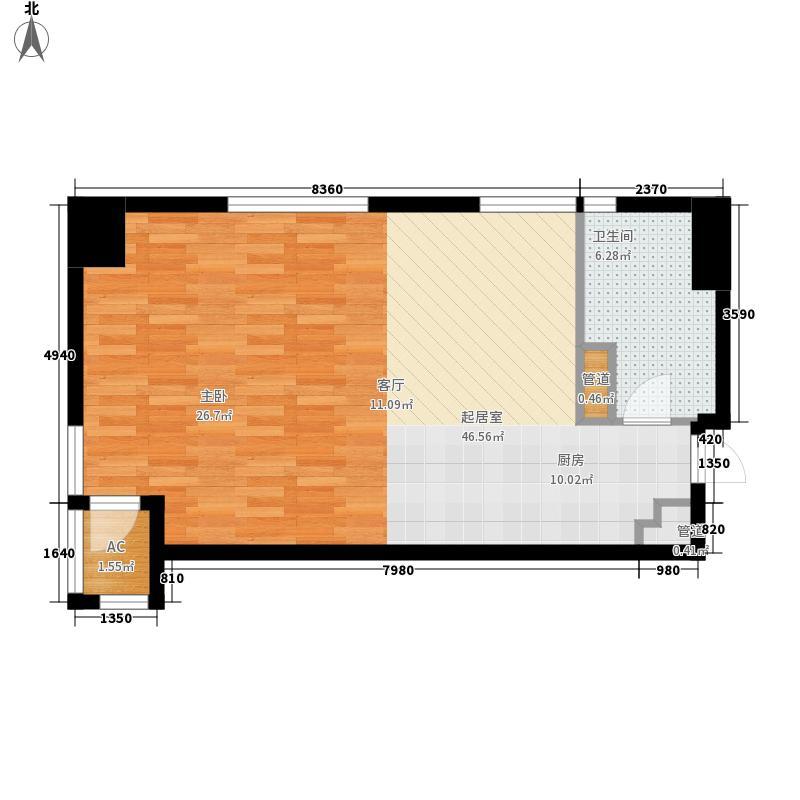 诺德广场62.00㎡D户型1室1厅