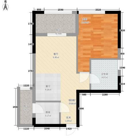 金色港湾五期1室1厅1卫1厨68.00㎡户型图