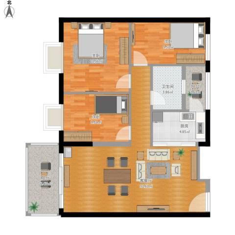 东汇家园3室1厅1卫1厨117.00㎡户型图