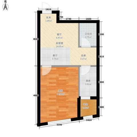 天和人家1室0厅1卫1厨52.00㎡户型图