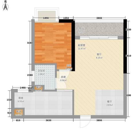 珠光高派1室0厅1卫1厨52.00㎡户型图