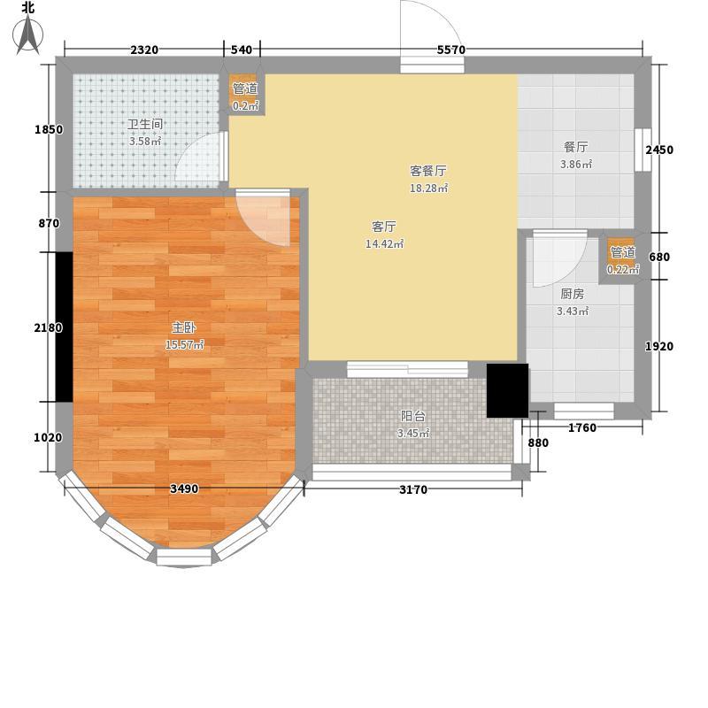 穗丰金湾6.84㎡B3户型1室2厅1卫1厨