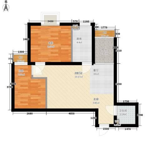 大洋时代国际2室0厅1卫1厨58.00㎡户型图