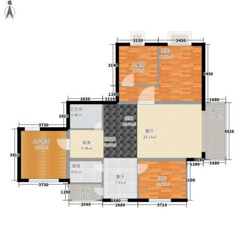 蓝湾华府3室0厅1卫1厨123.00㎡户型图