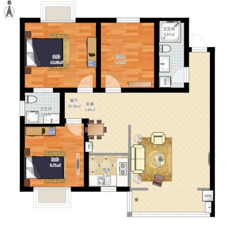 安诚御花苑3室1厅2卫1厨111.00㎡户型图