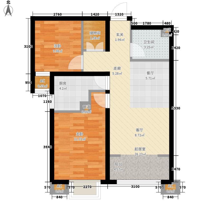 在水一方89.00㎡A区30#楼户型2室1厅