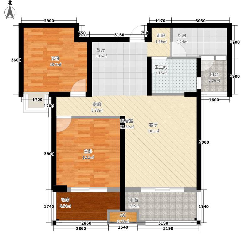 上善天成二期86.00㎡一批次2号楼标准楼层D1户型2室2厅1卫1厨