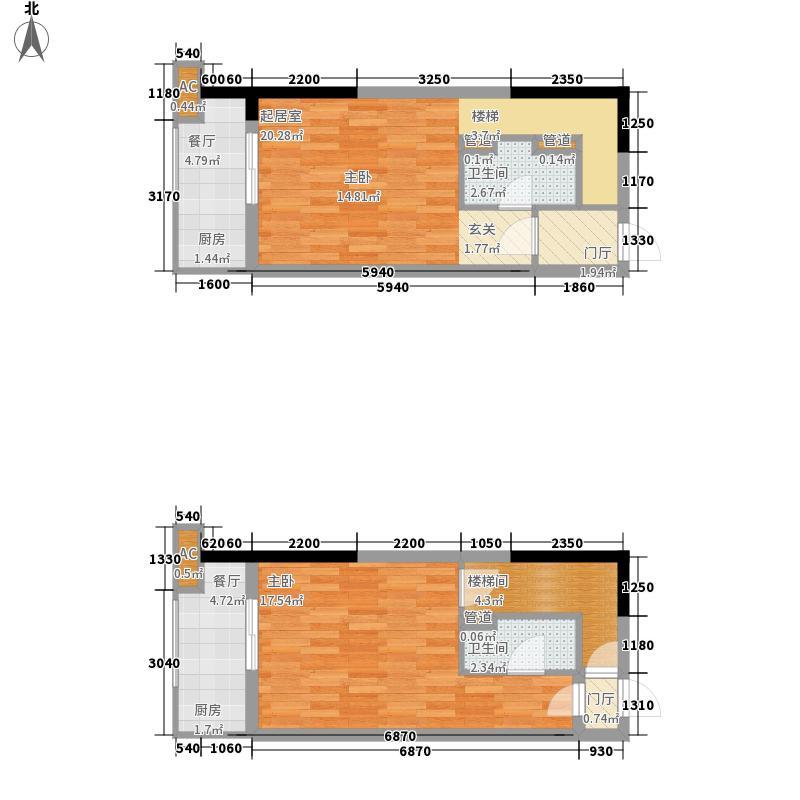 万景峰富仕公寓85.00㎡五期2、12、13栋1oft上下层户型2室2厅2卫2厨