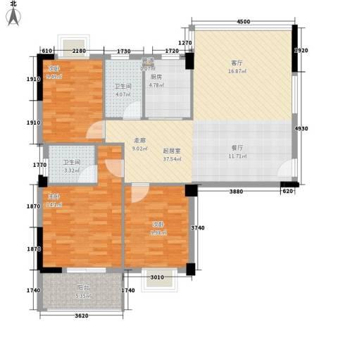 雨花亭方正证券商住楼3室0厅2卫1厨120.00㎡户型图