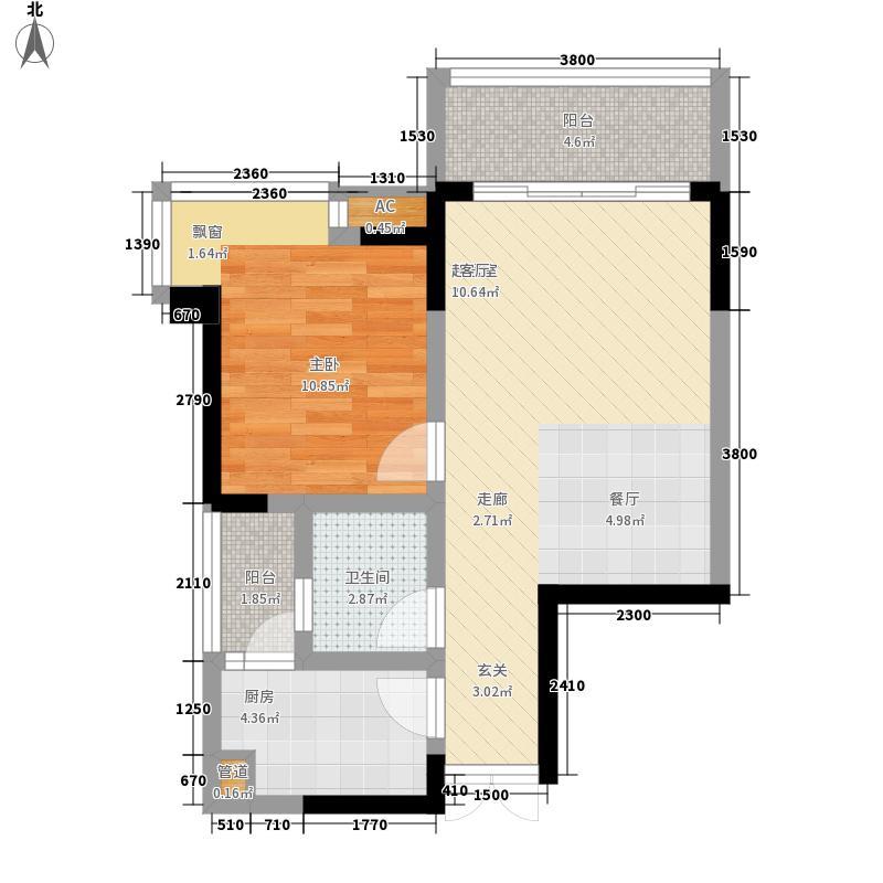 巴国龙庭高层11/12号楼标准层D-1户型1室2厅