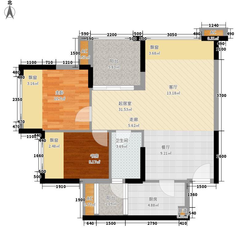 荣和山水绿城76.56㎡E-1户型2室2厅